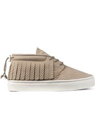 Clear Weather Natural Croc Leather The One O One Mid Top Sneakers