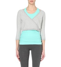 Sweaty Betty Contemporary Wrap Front Cotton Jersey Cropped Top Light Grey