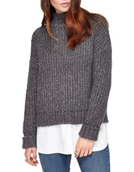 Miss Selfridge Chunky Mockneck Sweater With Blouse Layer Charcoal