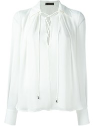 Plein Sud Jeans Lace Up Collar Blouse White