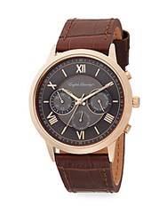 English Laundry Rose Goldtone Stainless Steel And Croc Embossed Brown Leather Strap Chronograph Watch Brown Grey