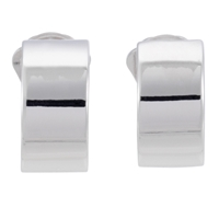 Finesse Rhodium Polished Crescent Clip Earrings