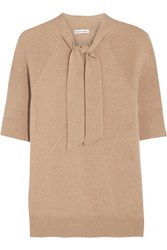 Tomas Maier Pussy Bow Cashmere Sweater Beige