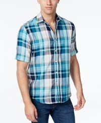 Tasso Elba Men's Big And Tall Plaid Short Sleeve Shirt Classic Fit Tropical Tide