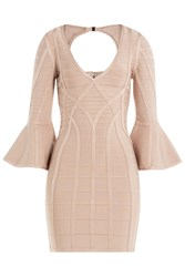 Herve Leger Bandage Dress With Fluted Sleeves Beige