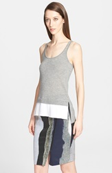 Yigal Azrouel Sleeveless Silk And Cashmere Sweater With Pleated Hem Heather Grey