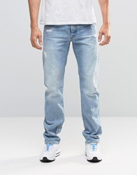 G Star Attack Straight Jeans Light Aged Restored Distressed 90 Lt Aged Restored 90 Blue