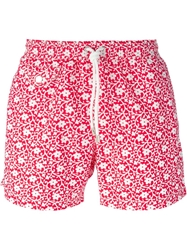 Hartford Flower Print Swim Shorts Red