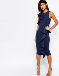 Asos Ruffle Neck And Peplum Midi Scuba Dress Navy