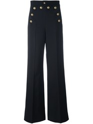 Red Valentino Buttoned Wide Leg Trousers Blue