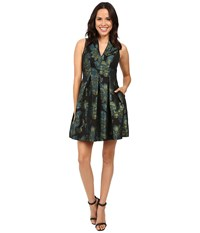Vince Camuto Jacquard V Neck Sleeveless Fit And Flare Green Navy Women's Dress