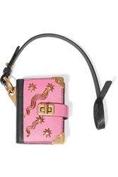 Prada Embellished Textured Leather Keychain Baby Pink