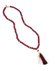 Diane Von Furstenberg Agate Beaded Tassel Pendant Goldplated Necklace Red