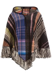 Missoni Hooded Wool Poncho With Alpaca Mohair And Silk Black