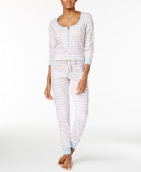 Tommy Hilfiger Thermal Henley Top And Pants Pajama Set Snow Bunny Fairisle