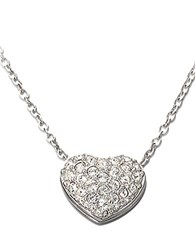 Swarovski Heart Shaped Crystal Pave Pendant Necklace Silver