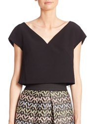 Milly Cropped Cap Sleeve Top Black