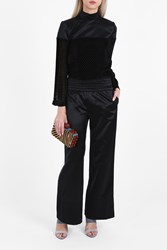 Cecilie Copenhagen Women S Mason Satin Wide Trousers Boutique1 Black