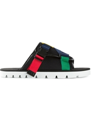 Msgm Colour Block Strap Sandals Black