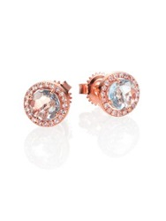 Suzanne Kalan Blue Topaz White Sapphire And 14K Rose Gold Round Stud Earrings