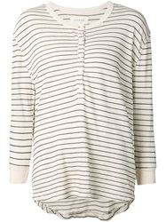 The Great Stripped Henley T Shirt White