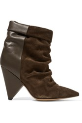 Isabel Marant Andrew Suede And Leather Ankle Boots Army Green