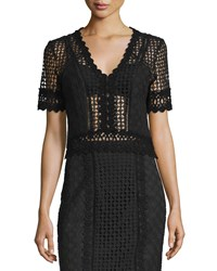 Rebecca Taylor Short Sleeve Crochet Lace Top Black