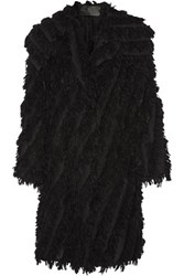 Donna Karan New York Oversized Fringed Alpaca Blend Coat Black