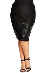 City Chic Faux Leather Applique Mesh Overlay Pencil Skirt Plus Size Black