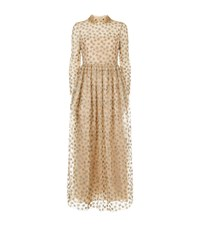 Valentino Star Embroidered Tulle Maxi Dress Female Nude