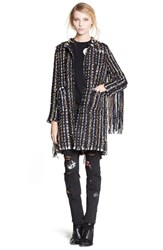 Women's Msgm Embroidered Heavy Tweed Coat With Fringe