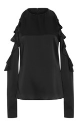 Cushnie Et Ochs Cold Cut Out Shoulder Top Black