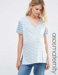 Asos Maternity V Neck Tunic In Blocked Washed Stripe Stripe Multi