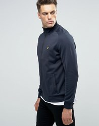 Lyle And Scott Zipthru Tricot Track Top Eagle Logo In Navy Navy