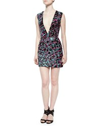 J. Mendel Plunge Neck Beaded And Embroidered Cocktail Dress Women's