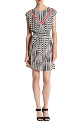 Daniel Rainn Cap Sleeve Print Blouson Dress Multi