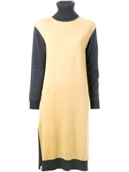 Muveil Mid Length Knitted Dress Yellow Orange
