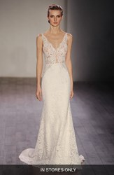 Women's Lazaro V Neck Lace Trumpet Dress In Stores Only