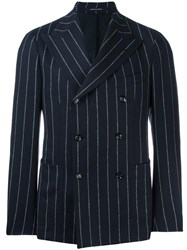 Tagliatore Pinstripe Double Breasted Jacket Blue