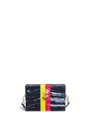 Edie Parker 'Small Trunk Vintage Stripes' Acrylic Box Clutch Multi Colour