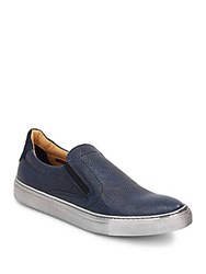 Robert Graham Rolo Embossed Leather And Suede Slip On Sneakers Blue