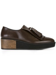 Paloma Barcelo Wedge Tasseled Loafers Brown