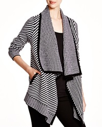 C By Bloomingdale's Striped Open Cardigan Black White