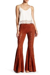 Free People Summer Lovin' Genuine Suede Flare Jean Brown