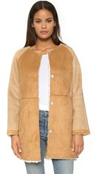 Glamorous Faux Shearling Collarless Jacket Tan Patchwork