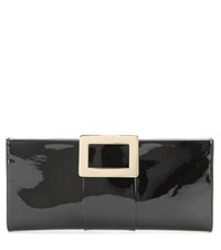 Roger Vivier Belle Patent Leather Clutch Black