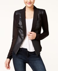 Material Girl Juniors' Faux Leather Ilusion Sleeve Blazer Only At Macy's Caviar Black