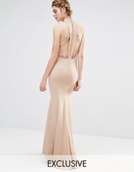 Jarlo Wedding High Neck Maxi Dress With Fishtail And Detailed Back Taupe Brown