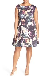 Gabby Skye Plus Size Women's Floral Print Fit And Flare Dress