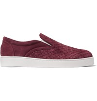 Bottega Veneta Intrecciato Suede Slip On Sneakers Burgundy